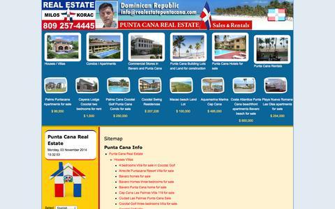 Screenshot of Site Map Page realestatepuntacana.com - Punta Cana Real Estate > Sitemap - captured Nov. 3, 2014