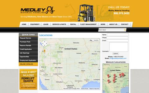 Screenshot of Locations Page medleycompany.com - Forklift Lease, Rental, Training, Fleet Management- Oklahoma City, Texas, New Mexico, Muskogee, Lubbock - captured Oct. 3, 2014