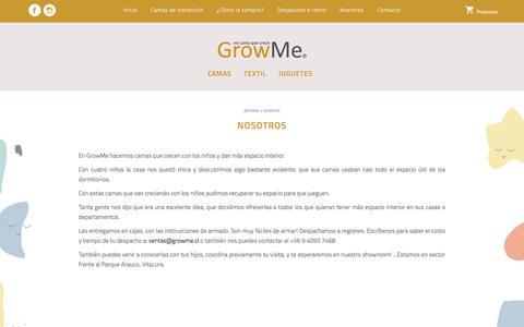 Screenshot of About Page growme.cl - Nosotros - GrowMe - mi cama que crece - captured July 25, 2018