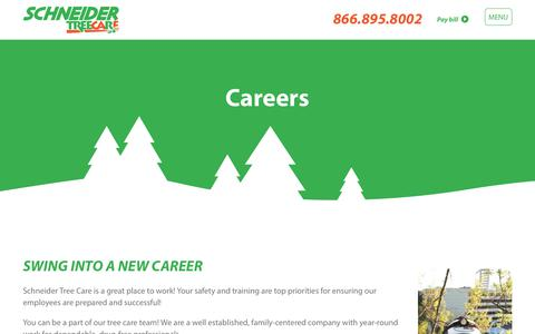 Screenshot of Jobs Page schneidertree.com - Careers - Schneider Tree Care - captured Oct. 5, 2017