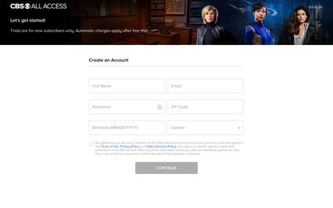 Screenshot of Signup Page cbs.com - CBS All Access Signup Form - captured July 14, 2019