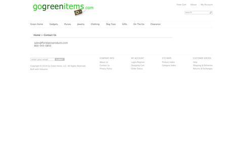 Screenshot of Contact Page gogreenitems.com - Contact Us - captured Oct. 27, 2014