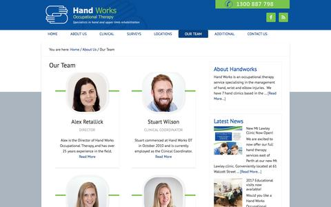 Screenshot of Team Page handworks.net.au - Hand Work's Team | Hand Works Occupational Therapy - captured July 14, 2017