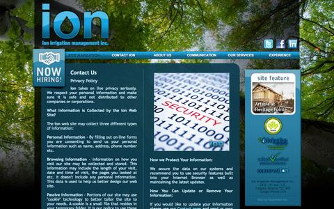 Screenshot of Privacy Page ionirrigation.com - ion irrigation management inc. - Contact ION: Privacy Policy - captured Oct. 6, 2014