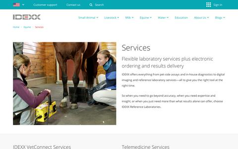 Screenshot of Services Page idexx.com - Laboratory Services for Equine Veterinary Practices - IDEXX US - captured March 20, 2018