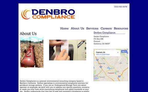 Screenshot of About Page denbrocompliance.com - About Us   Denbro Compliance - captured Sept. 30, 2014