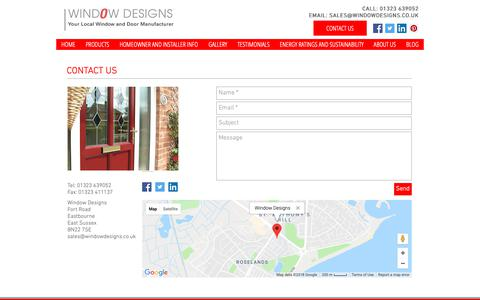 Screenshot of Contact Page windowdesigns.co.uk - Window Designs: Suppliers of uPVC and Aluminium Windows and Doors - captured Oct. 20, 2018
