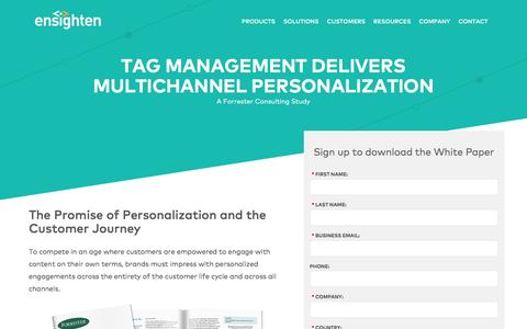 Screenshot of Landing Page ensighten.com - Tag Management Delivers Multichannel Personalization | Registration - captured June 14, 2016