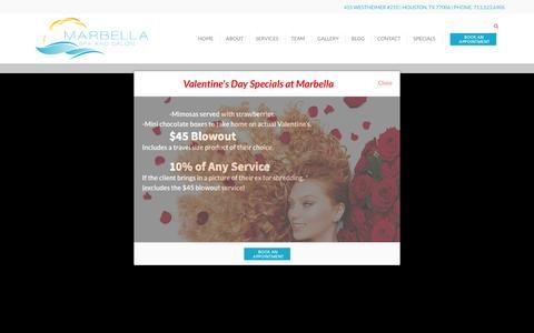 Screenshot of Contact Page marbellaspaandsalon.com - Houston Hair & Beauty Salon   Hair Stylist Houston TX - Marbella Spa and Salon - captured Feb. 12, 2016