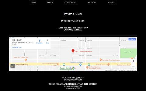 Screenshot of Contact Page javeda.com - CONTACT  | Javeda - captured Sept. 20, 2018