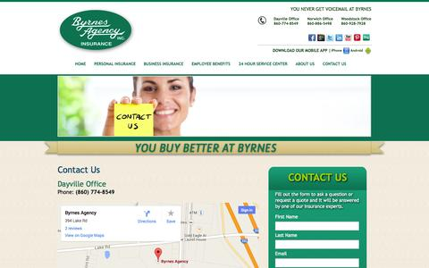 Screenshot of Contact Page byrnesagency.com - Contact Your Local Connecticut Insurance Agency - captured Oct. 5, 2014