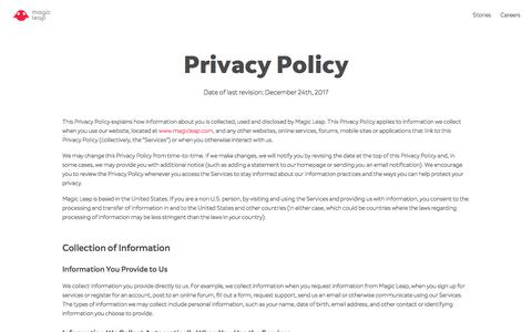 Privacy Policy | Magic Leap