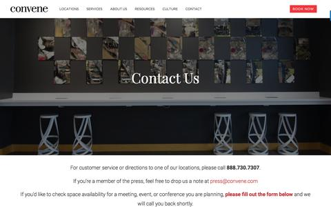 Screenshot of Contact Page convene.com - Contact Us - Convene - Meeting Rooms, Event Spaces, & Conference Centers - captured May 14, 2017