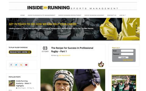 Screenshot of Blog insiderunning.com - Inside Running | LEADING SPORTS MANAGEMENT AND RECRUITMENT AGENCYInside Running - captured Oct. 6, 2014