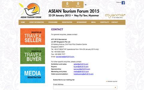 Screenshot of Contact Page atf-2015.com - ASEAN Tourism Forum 2015 - captured May 23, 2016