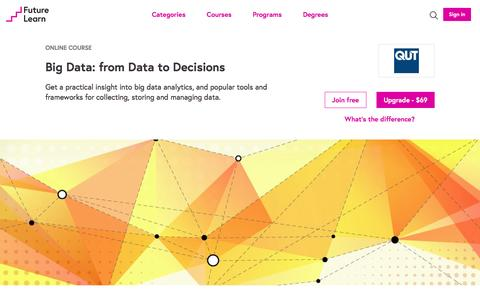 Screenshot of futurelearn.com - Big Data: from Data to Decisions - Online Course - captured May 11, 2017