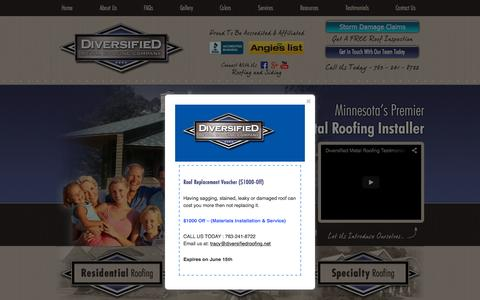 Screenshot of Home Page diversifiedroofing.net - Minnesota Metal Roofing | Roofing Contractors Minneapolis | Diversified Roofing Twin Cities - captured Sept. 12, 2015