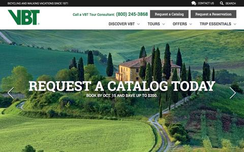Screenshot of Home Page vbt.com - VBT Bicycling and Walking Vacations - Discover Active Travel - captured Oct. 6, 2014
