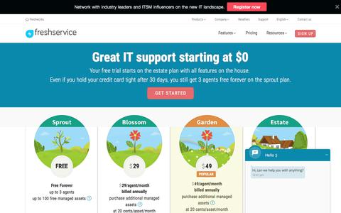 Screenshot of Pricing Page freshservice.com - Freshservice Plans & Pricing   ITSM Solution for Enterprises starting at $0. - captured June 9, 2017