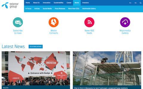 Screenshot of Press Page telenor.com - Media – Telenor Group - captured Feb. 11, 2016
