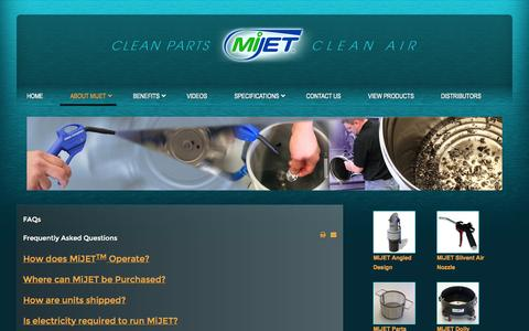 Screenshot of FAQ Page mijet.com - Frequently Asked Questions of MiJET - captured Oct. 27, 2014
