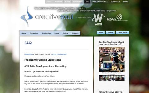 Screenshot of FAQ Page creativesoulonline.com - FAQ | Creative Soul > Christian Music Producer, Music Consulting, and Development in Nashville, Tennessee - captured Oct. 3, 2014