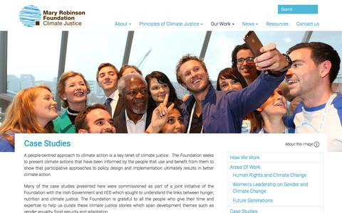 Screenshot of Case Studies Page mrfcj.org - Mary Robinson Foundation – Climate Justice |   Case Studies - captured Oct. 17, 2017