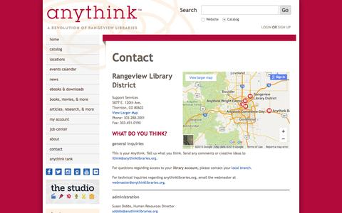 Screenshot of anythinklibraries.org - Contact | Anythink Libraries - captured Oct. 4, 2015
