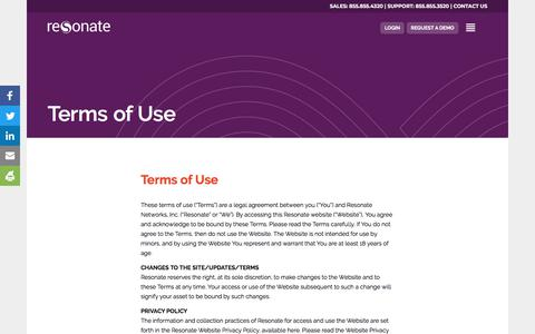 Screenshot of Terms Page resonate.com - Terms of Use - Resonate - captured Sept. 21, 2018