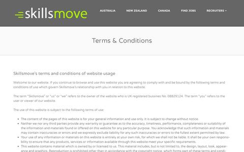 Screenshot of Terms Page skillsmove.com - Terms & Conditions of use | skillsmove - captured Sept. 30, 2014