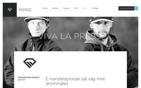 Screenshot of Press Page pierce-ecom.com - Press | PIERCE - Pioneers in E-Commerce - captured Nov. 6, 2016