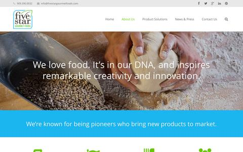 Screenshot of About Page fivestargourmetfoods.com - FiveStar Gourmet Foods  |  An Appetite for Excellence™ | Retail, Private Label and Food Service Solutions  –  About Us - captured Sept. 30, 2014