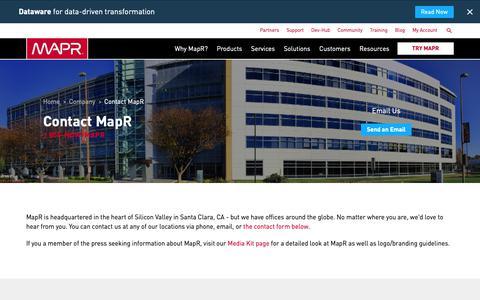Screenshot of Contact Page mapr.com - Contact MapR | MapR - captured Dec. 21, 2018