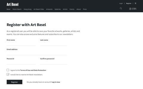 Screenshot of Signup Page artbasel.com - Art Basel - captured July 30, 2018