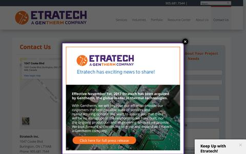 Screenshot of Contact Page etratech.com - Contact Us | Etratech - captured Sept. 29, 2018