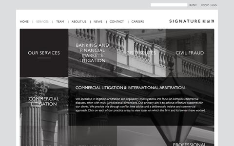 Screenshot of Services Page signaturelitigation.com - Our Services | Signature Litigation | Signature - captured Jan. 11, 2016