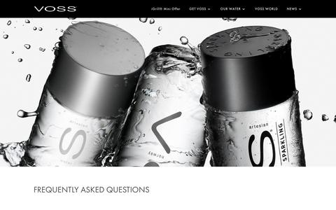 Screenshot of FAQ Page vosswater.com - FAQ's - VOSS Water - captured Sept. 23, 2018