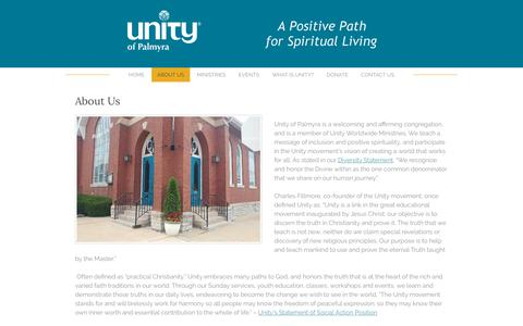 Screenshot of About Page unityofpalmyra.org - About Us - Unity Church - Palmyra, PAA Positive Path for Spiritual Living - captured Nov. 22, 2018