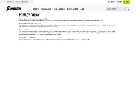 Screenshot of Privacy Page franklinsports.com - Privacy Policy | Franklin Sports - captured Aug. 3, 2015