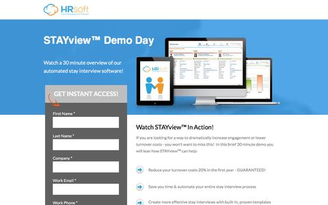 Screenshot of Landing Page hrsoft.com - Stay Interview Software Demo | HRsoft - captured March 8, 2017