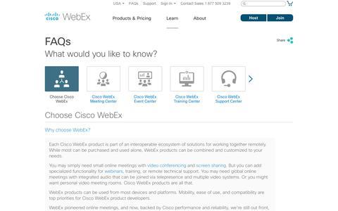 Screenshot of FAQ Page webex.com - FAQ - captured Oct. 12, 2017