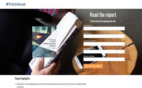 Screenshot of Landing Page pitchbook.com - PitchBook 2016 Annual US PE Middle Market Report - captured April 20, 2017