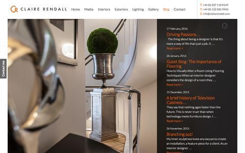 Screenshot of Blog clairerendall.com - Blog - Claire Rendall Interior Design - captured March 4, 2016