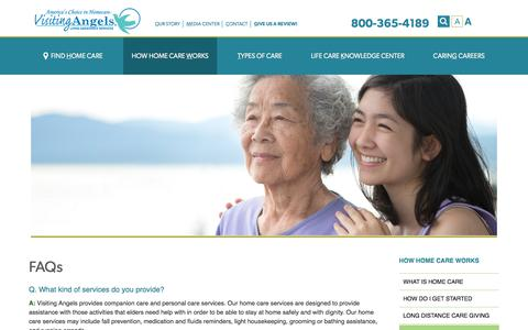 Screenshot of FAQ Page visitingangels.com - FAQ About Senior Home Care - captured Nov. 3, 2019