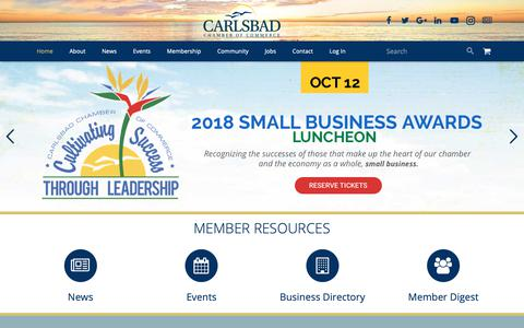 Screenshot of Home Page carlsbad.org - Carlsbad Chamber of Commerce | City of Carlsbad, California - captured Sept. 27, 2018