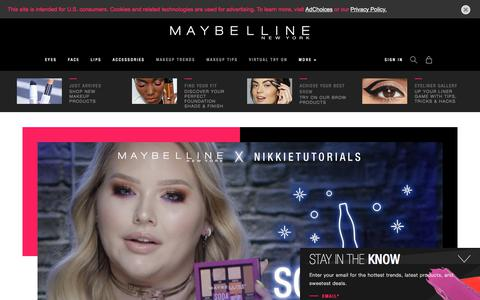 Screenshot of Home Page maybelline.com - Makeup Products, Makeup Tips and Fashion Trends - Maybelline New YorK - captured Sept. 13, 2018
