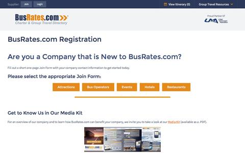 Screenshot of Signup Page busrates.com - Join BusRates.com, Group Travel & Charter Bus Directory - BusRates.com - captured Oct. 20, 2015