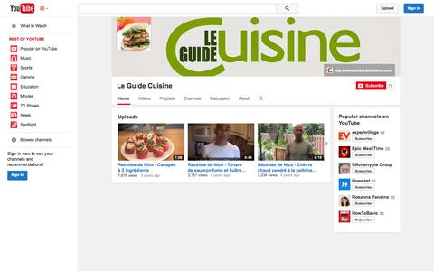 Screenshot of YouTube Page youtube.com - Le Guide Cuisine  - YouTube - captured Oct. 22, 2014