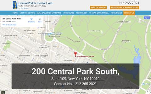 Screenshot of Contact Page 200centralparkdental.com - Contact Central Park South Dental Care | Cosmetic & Periodontal Dentist NYC - captured Oct. 2, 2014