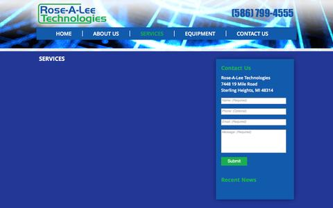 Screenshot of Services Page rosealeetechnologies.com - SERVICES - captured Sept. 30, 2014